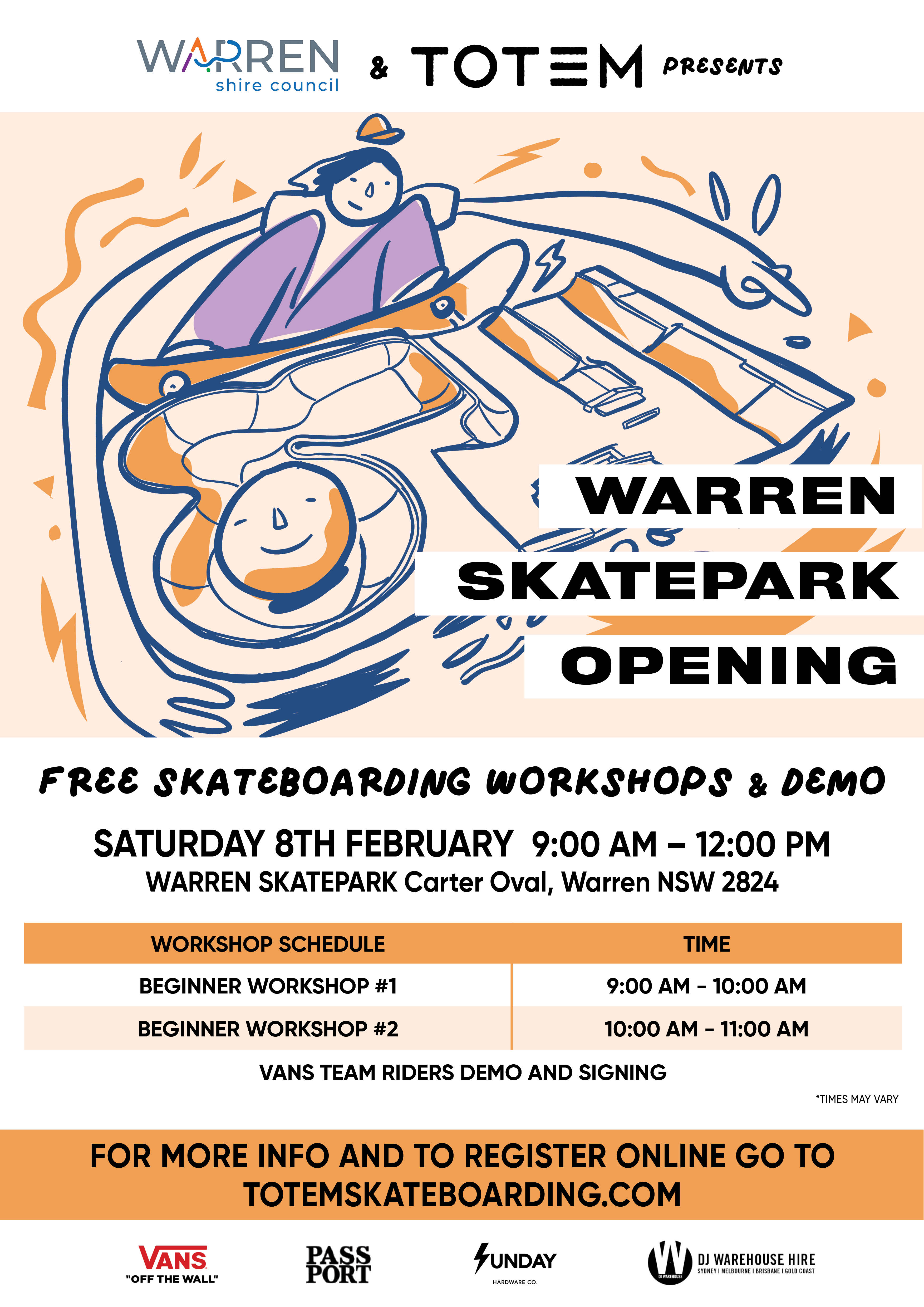 Warren Skate Park Opening and Workshops